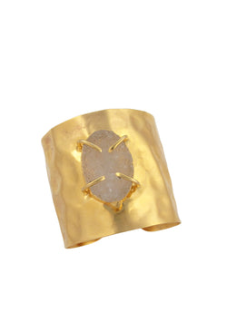 Clear Drusy Gold Hammered Cuff