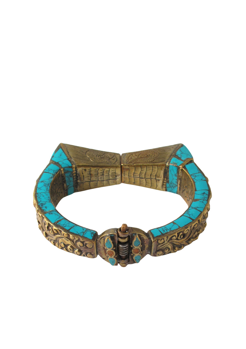 Turquoise Carved Brass Ethnic Bangle