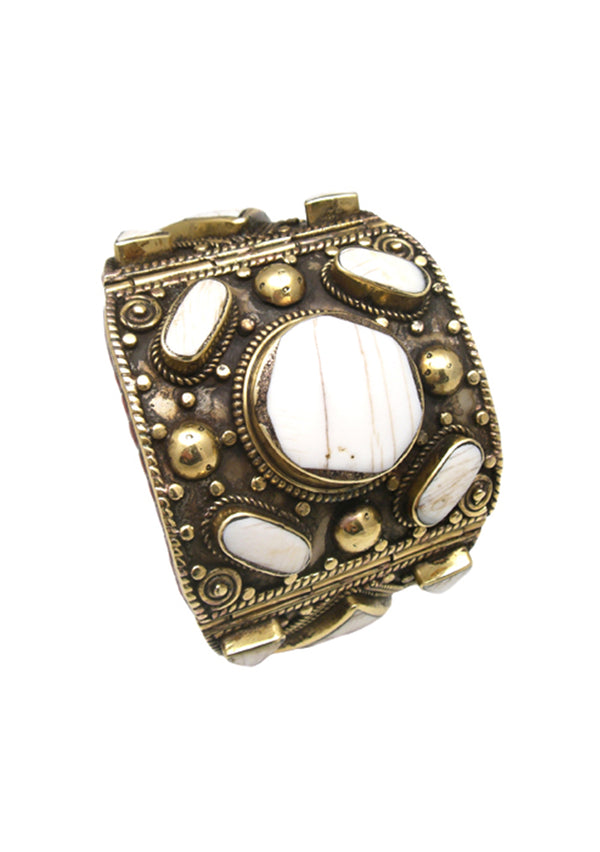 Antiqued Brass White Shell Cuff