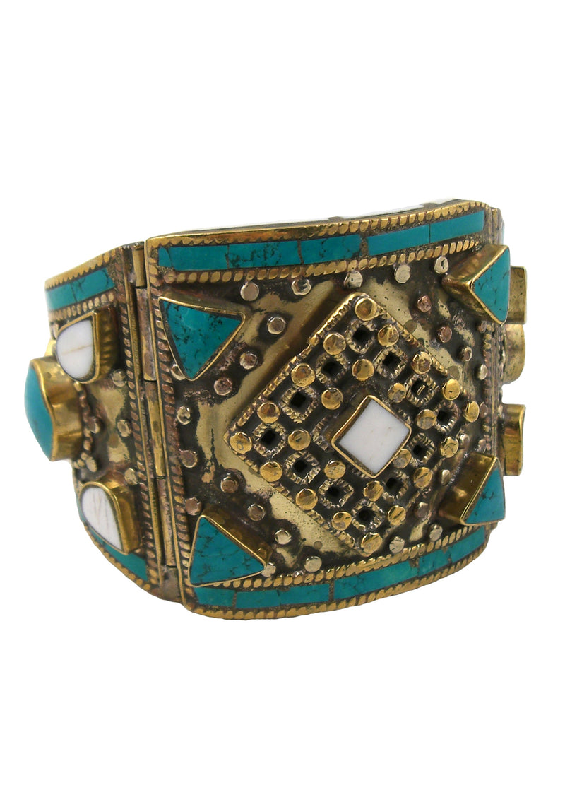 Antiqued Turquoise White Shell Cuff