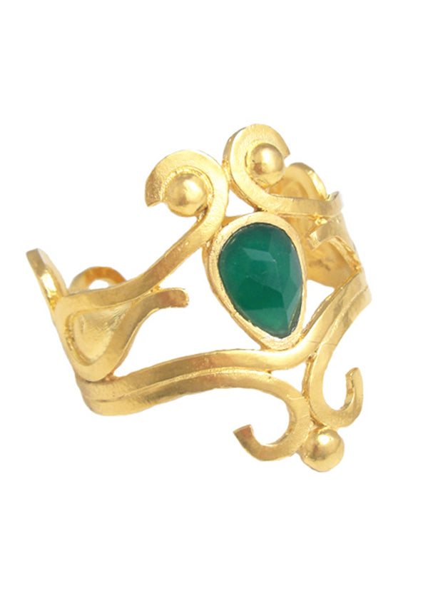 Gold Scroll Green Onyx Cuff