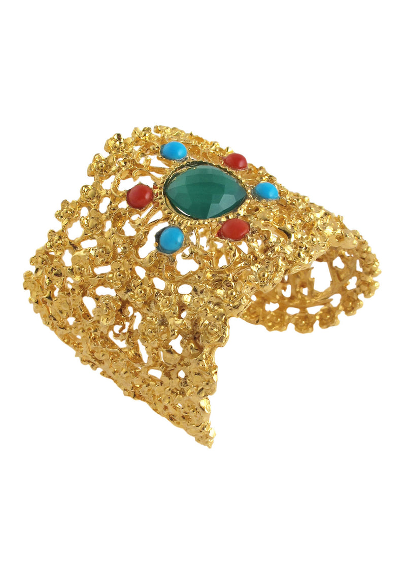Multicolor Gold Textured Cuff