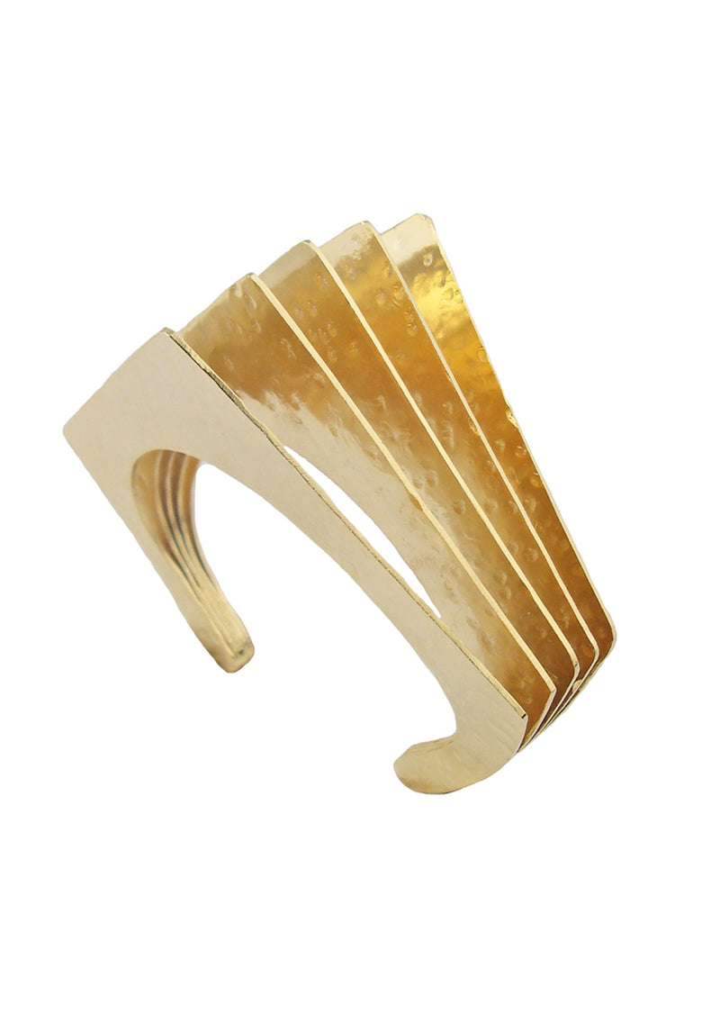Gold Hammered Fan Cuff
