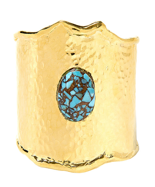Hammered Gold and Turquoise Mosaic Cuff