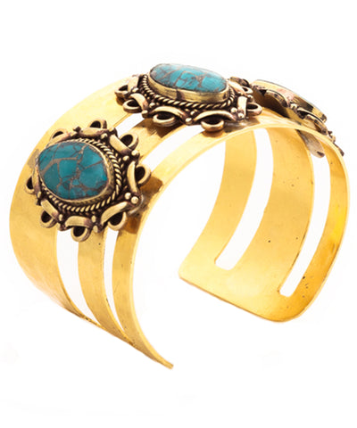 Gold Cuff with Turquoise and Brass Accents