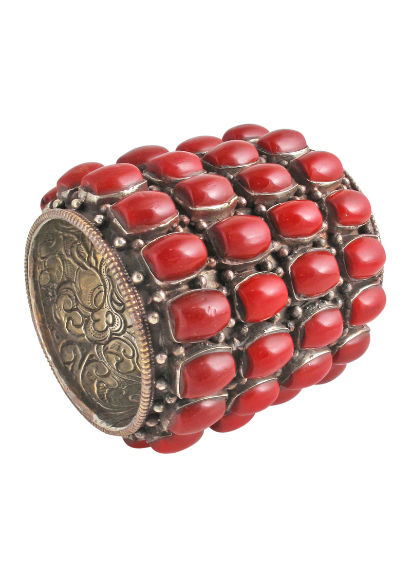 One of a Kind Antique Coral Nepalese Cuff