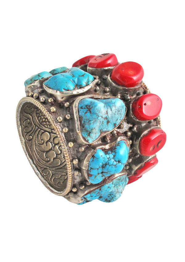 One of a Kind Antique Turquoise and Coral Nepalese Cuff