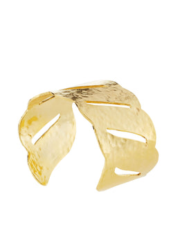 Gold Slit Wave Cuff
