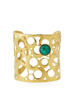 Gold Cuff with Chrysocolla Accent