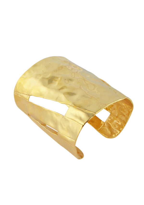 Hammered Gold Side Slit Cuff