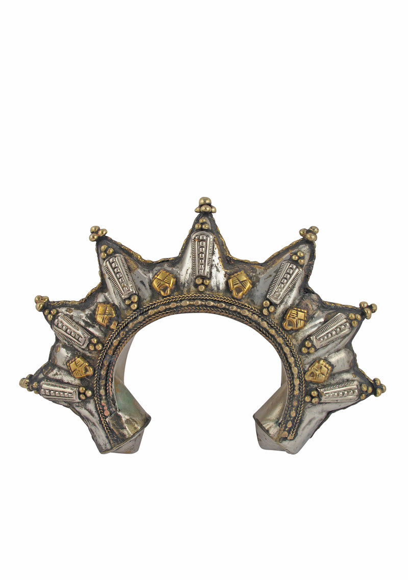 Antiqued Brass Spike Cuff