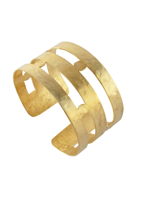 Open Bar Hammered Gold Cuff