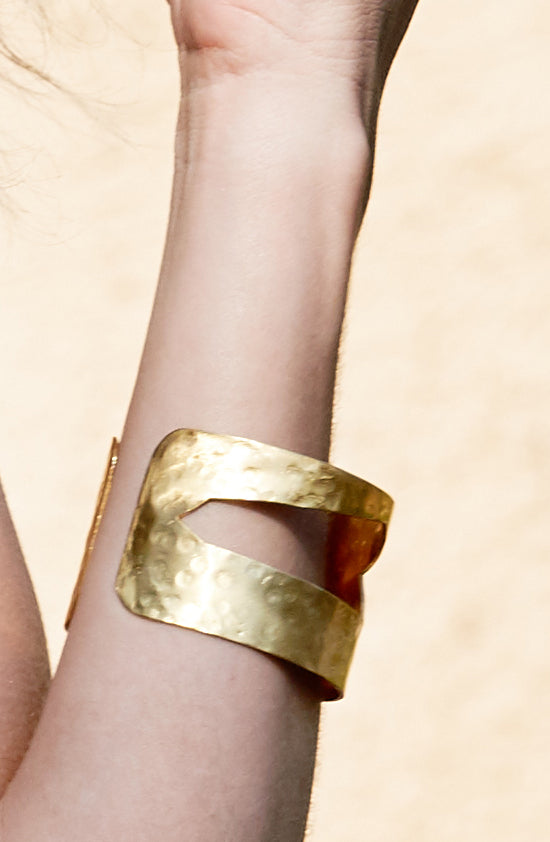 Hammered Gold Open Sides Cuff