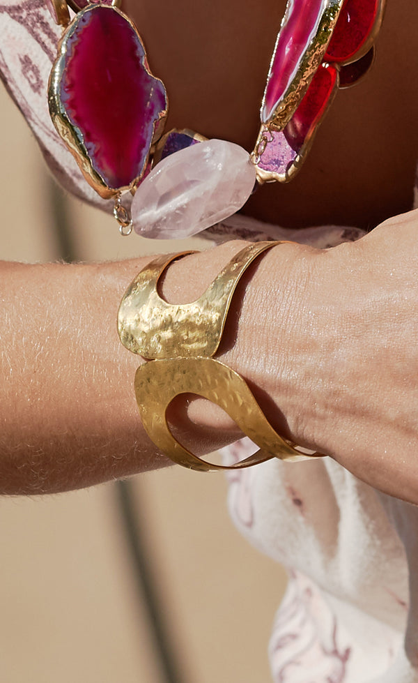 One of a kind gold boho cuff bracelet
