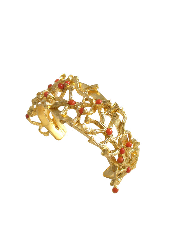 Red Coral Gold Branch Cuff