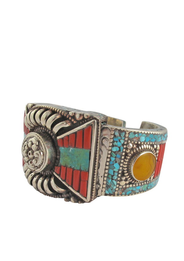 Coral Turquoise Ethnic Cuff