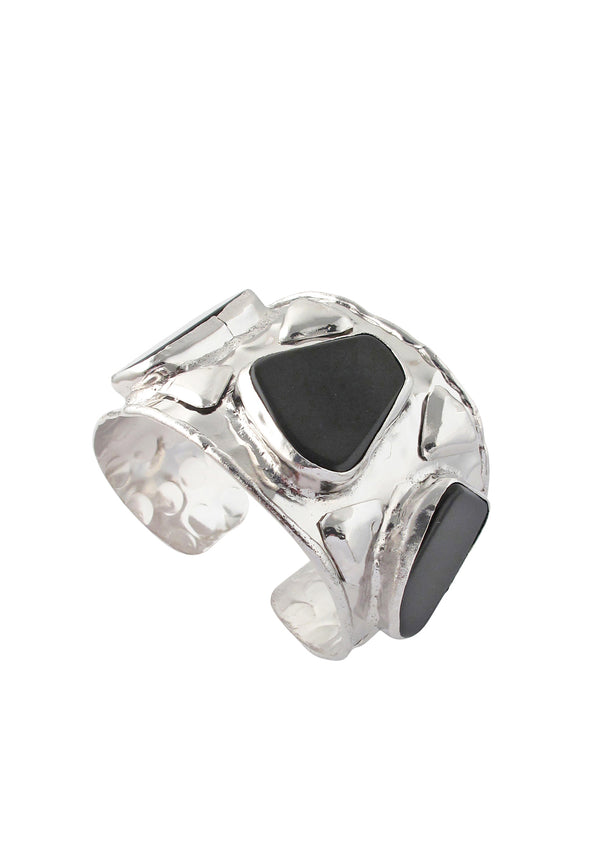Rhodium Black Onyx Cuff