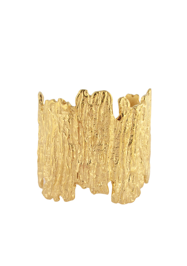 Irregular Textured Gold Cuff