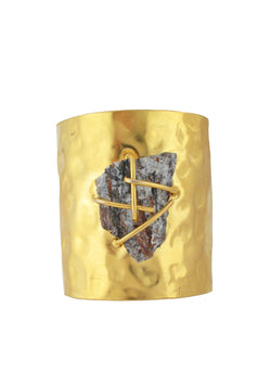 One of a Kind Raw Pyrite Hammered Gold Cuff