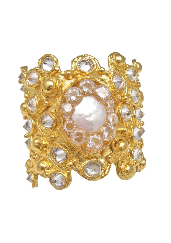 Mother of Pearl Clear CZ Gold Cuff