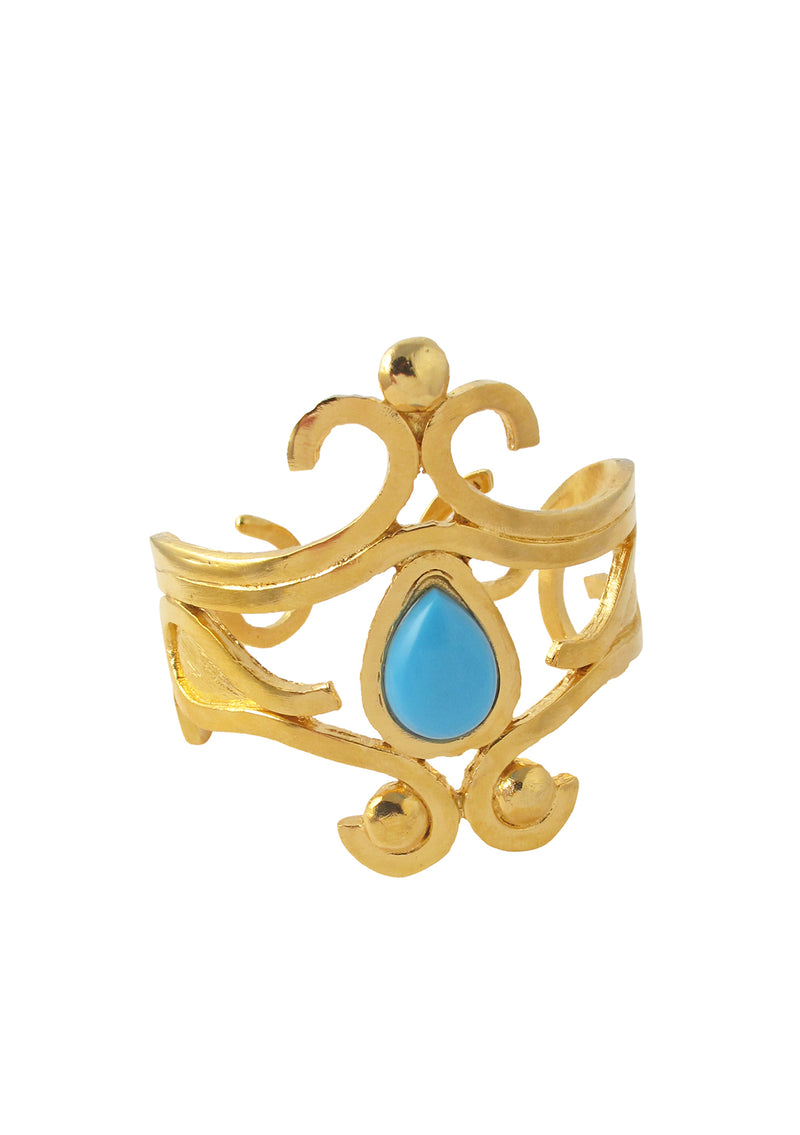 Turquoise Accent Gold Scroll Cuff