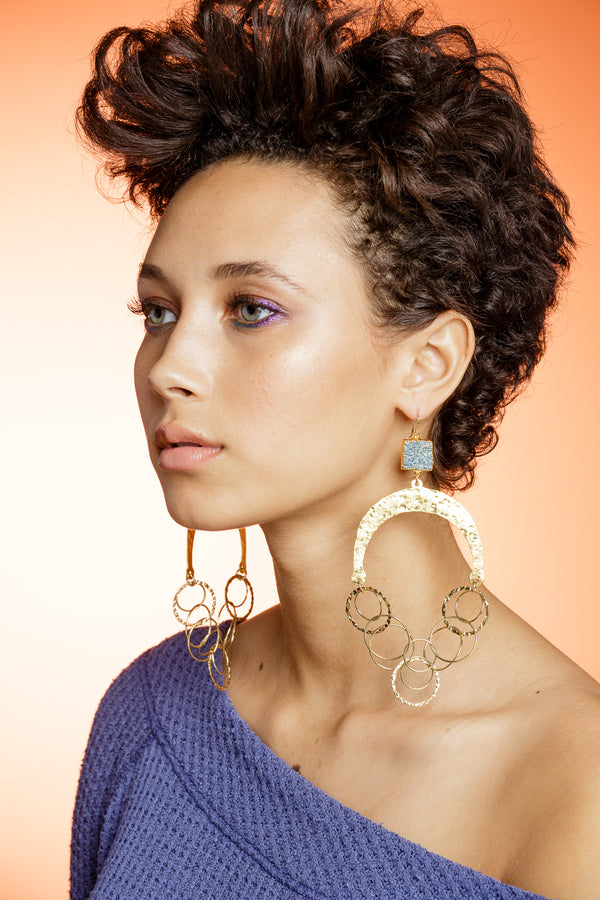 Coral Gold Hammered Wedge Chandelier Earrings