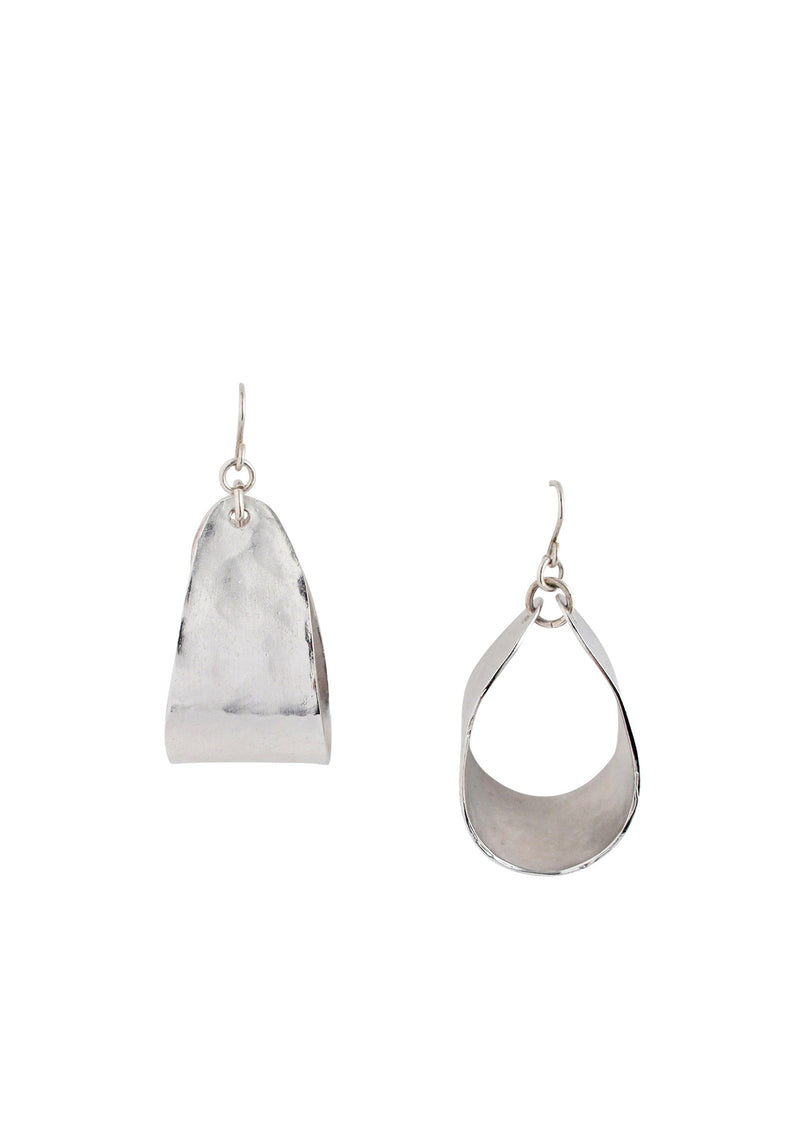 Rhodium Hammered Small Hoop Earrings