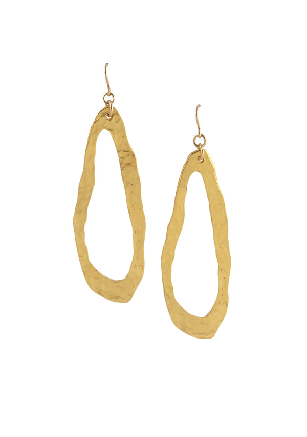 Irregular Elongated Gold Earrings