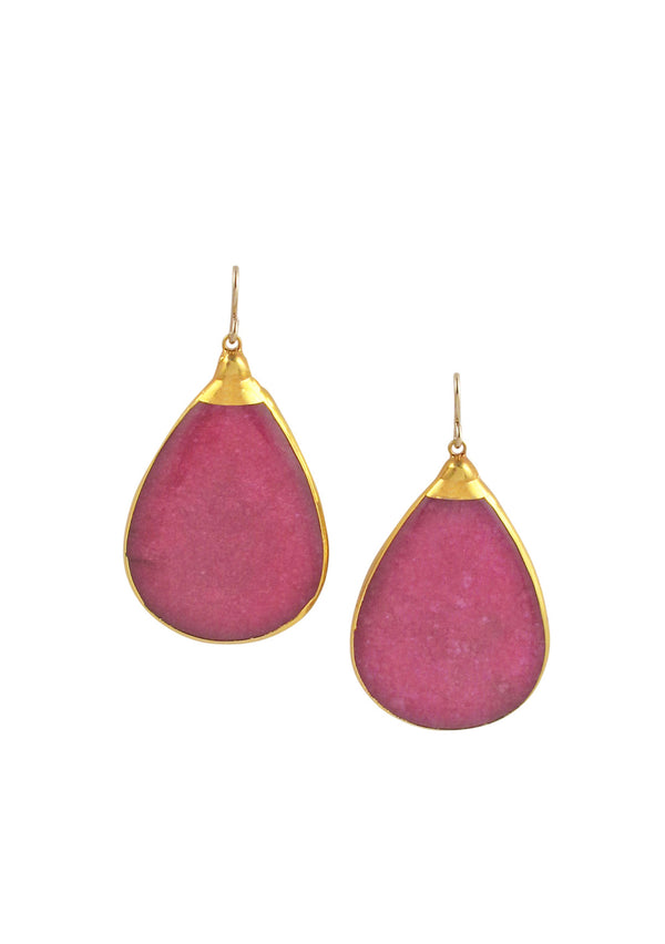 Ruby Quartz in Gold Foil Earrings