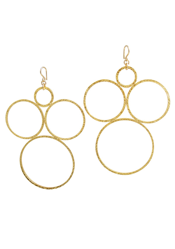 Textured Multi Circle Gold Earrings