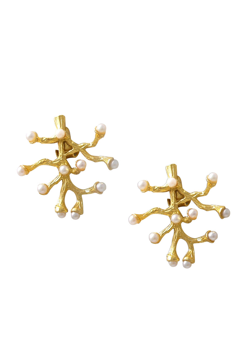 Pearl Gold Coral Branch Clip-On Earrings