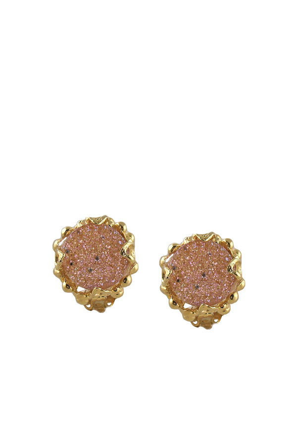 Peach Druzy Gold Clip-On Earrings