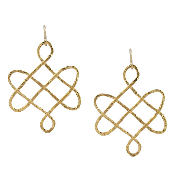 Small Gold Trellis Earrings