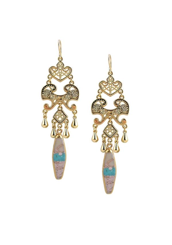 Turquoise in Gold Foil Chandelier Earrings
