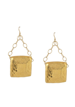 Hammered Gold Square Drop Earrings