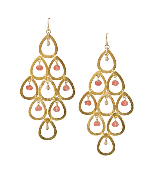 Ruby Multi Teardrop Chandelier Earrings
