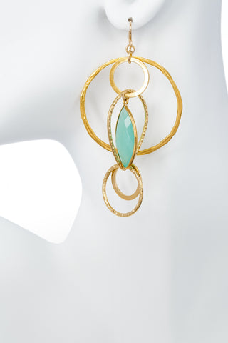 Aqua Chalcedony Multi Hoop Gold Earrings