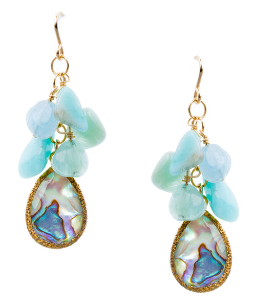 Abalone Drop Amazonite Cluster Earrings