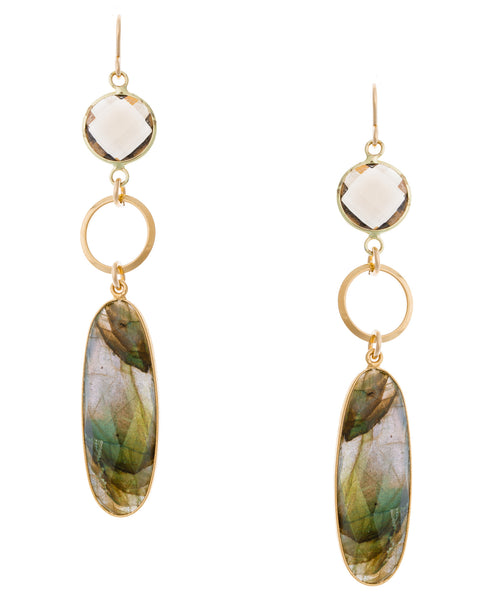Smoky Quartz and Labradorite in Gold Foil Earrings
