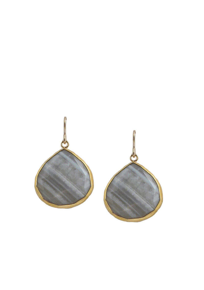 Gray Agate in Gold Foil Earrings