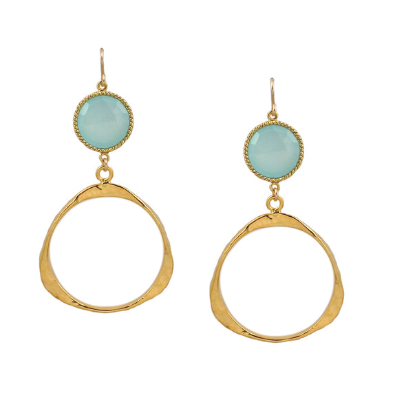 Aqua Chalcedony Bezel Gold Drop Earrings