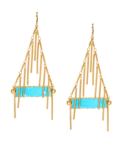 Turquoise in Gold Foil Fringe Earrings