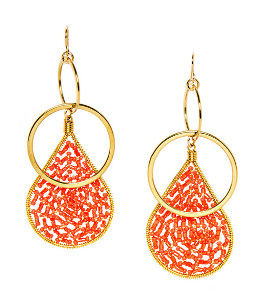 Seed Bead Teardrop Gold Double Hoop Earrings