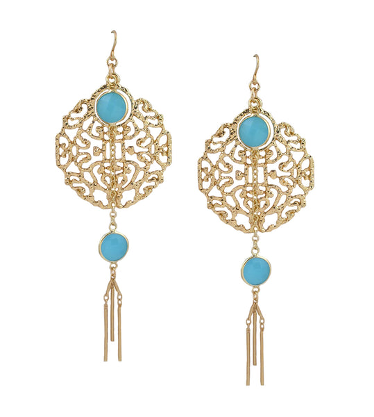 Blue Chalcedony Gold Filigree Dangle Earrings