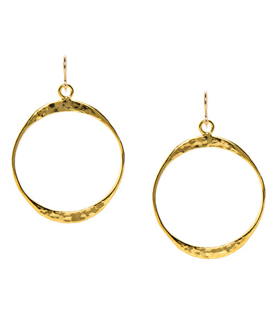 Round Hammered Hoop Earrings