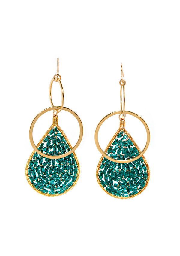 Teal Teardrop Double Link Earrings