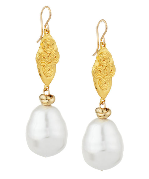 Shell Pearl Gold Accent Double Drop Earrings
