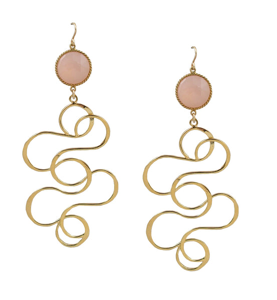 Bezel Gold Swirl Earrings