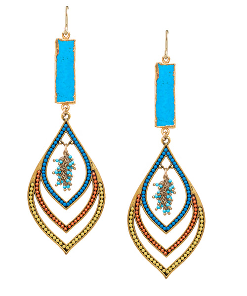Turquoise Bezel Multicolor Drop Earrings
