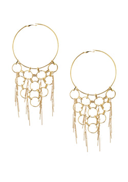 Oversized Gold Fringe Hoop Earrings
